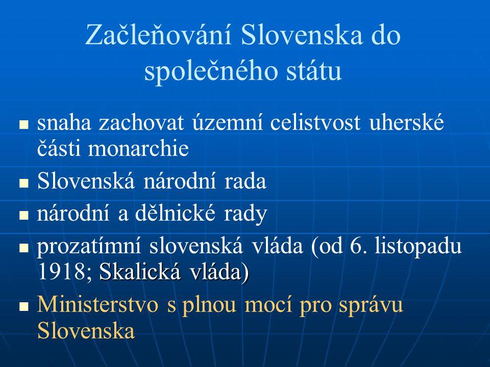 Začleňování Slovenska do společného státu snaha zachovat územní celistvost uherské části monarchie Slovenská národní rada národní a dělnické rady Skalická vláda) prozatímní slovenská vláda (od 6.