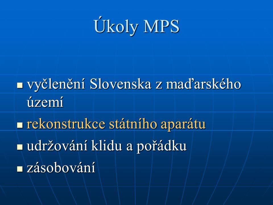 Úkoly MPS vyčlenění Slovenska z maďarského území vyčlenění Slovenska z maďarského území rekonstrukce státního aparátu rekonstrukce státního aparátu udržování klidu a pořádku udržování klidu a pořádku zásobování zásobování