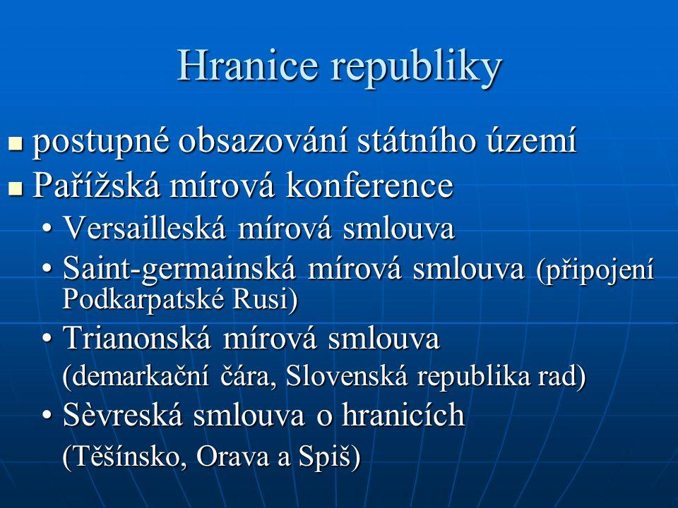 Hranice republiky postupné obsazování státního území postupné obsazování státního území Pařížská mírová konference Pařížská mírová konference Versailleská mírová smlouvaVersailleská mírová smlouva Saint-germainská mírová smlouva (připojení Podkarpatské Rusi)Saint-germainská mírová smlouva (připojení Podkarpatské Rusi) Trianonská mírová smlouvaTrianonská mírová smlouva (demarkační čára, Slovenská republika rad) Sèvreská smlouva o hranicíchSèvreská smlouva o hranicích (Těšínsko, Orava a Spiš)