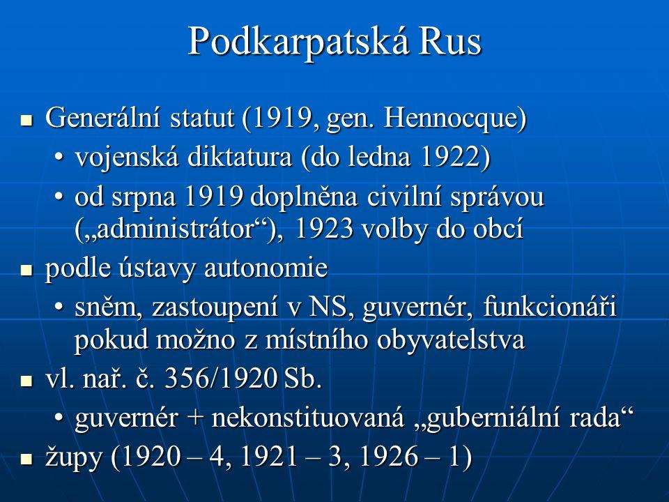 Podkarpatská Rus Generální statut (1919, gen.Hennocque) Generální statut (1919, gen.