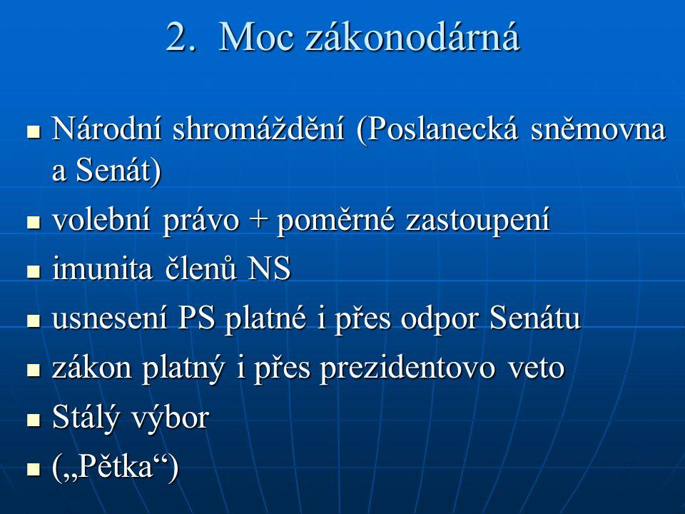 2. Moc zákonodárná Národní shromáždění (Poslanecká sněmovna a Senát) Národní shromáždění (Poslanecká sněmovna a Senát) volební právo + poměrné zastoup