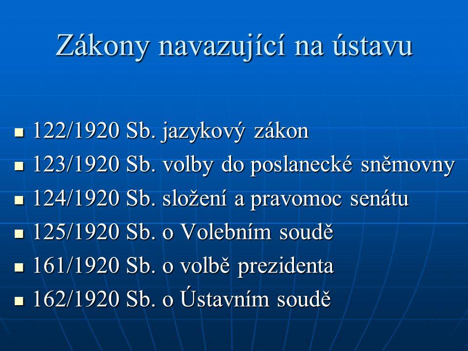 Zákony navazující na ústavu 122/1920 Sb.jazykový zákon 122/1920 Sb.