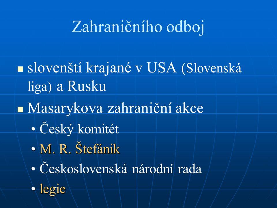 Zahraničního odboj slovenští krajané v USA (Slovenská liga) a Rusku Masarykova zahraniční akce Český komitét M.