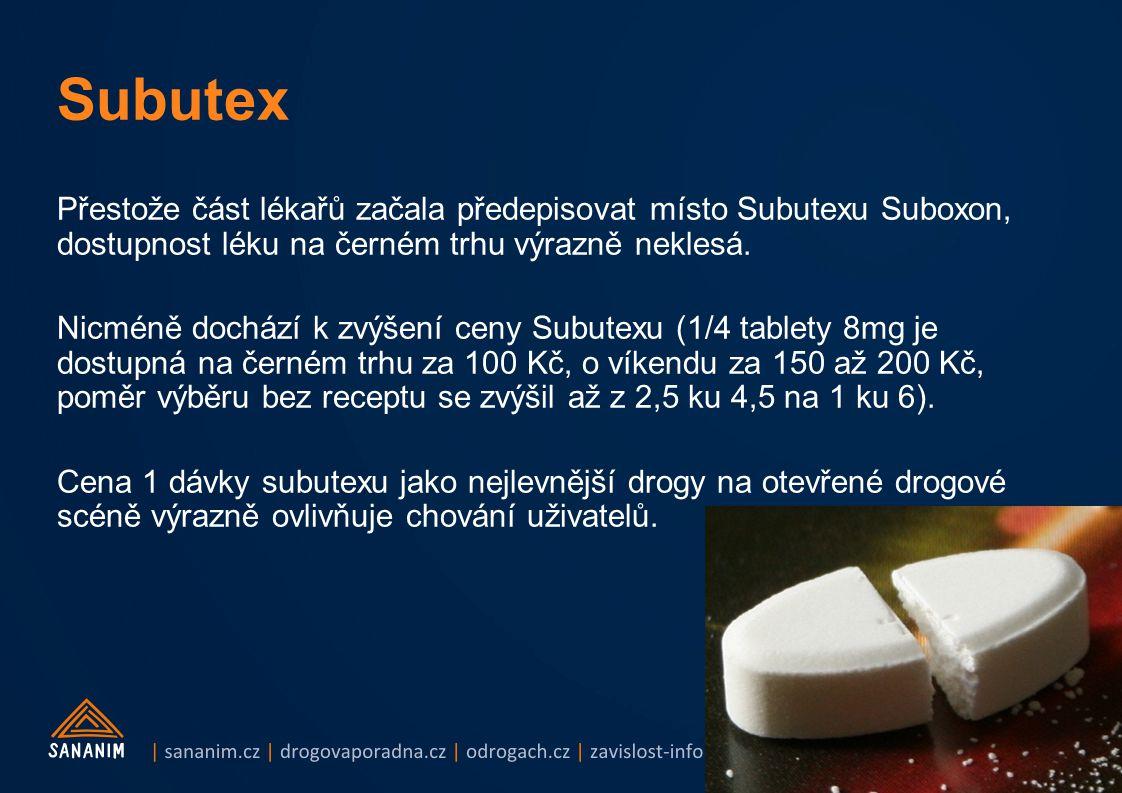 Přestože část lékařů začala předepisovat místo Subutexu Suboxon, dostupnost léku na černém trhu výrazně neklesá. Nicméně dochází k zvýšení ceny Subute