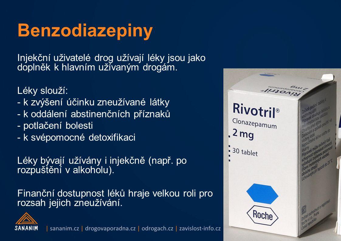 Injekční uživatelé drog užívají léky jsou jako doplněk k hlavním užívaným drogám. Léky slouží: - k zvýšení účinku zneužívané látky - k oddálení abstin