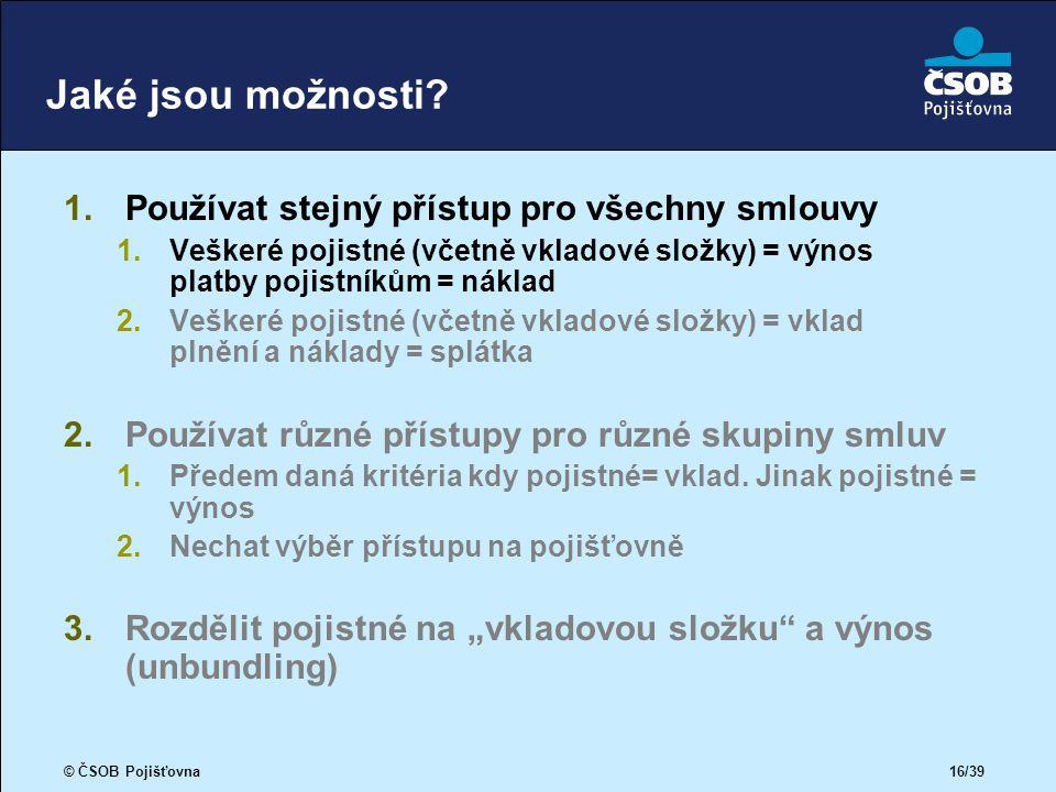 © ČSOB Pojišťovna 16/39 Jaké jsou možnosti.