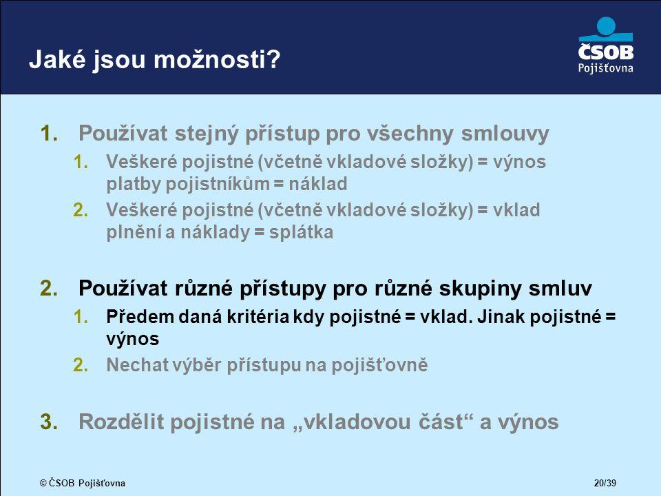 © ČSOB Pojišťovna 20/39 Jaké jsou možnosti.