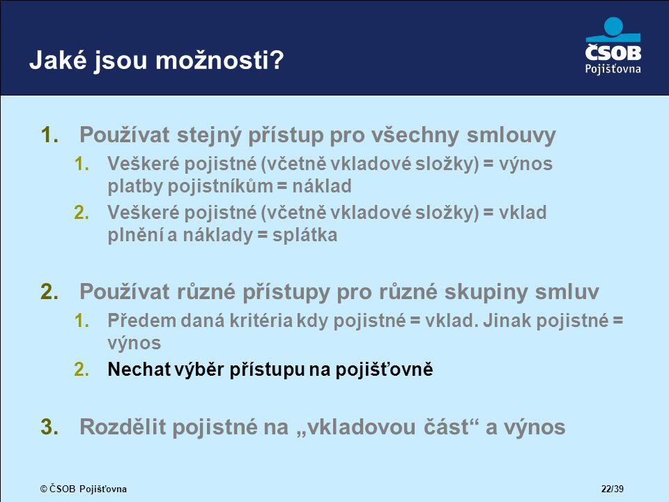 © ČSOB Pojišťovna 22/39 Jaké jsou možnosti.