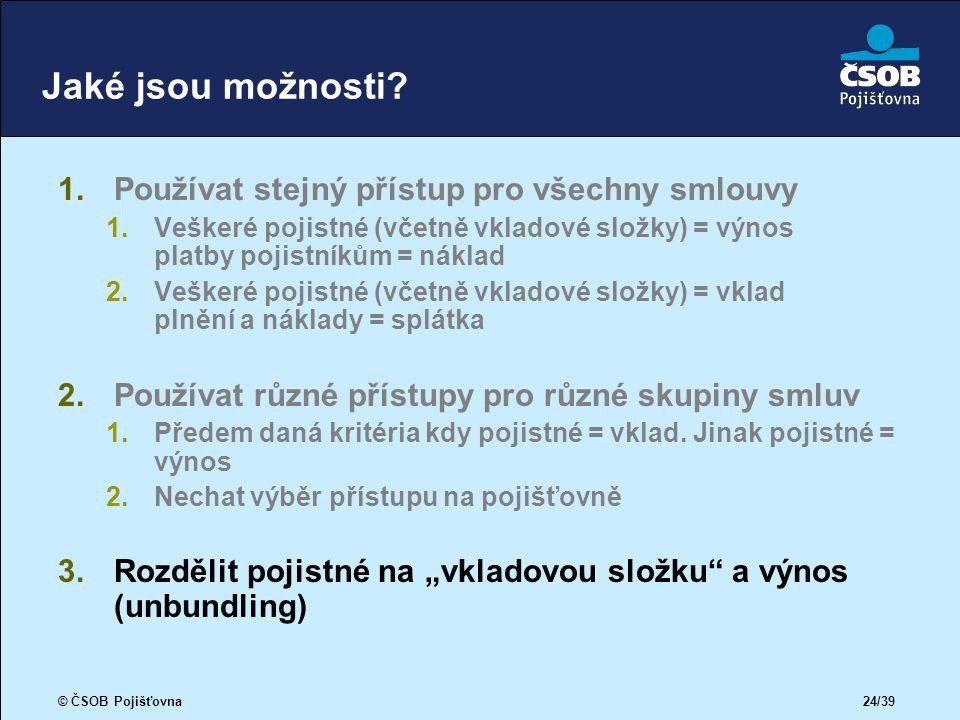 © ČSOB Pojišťovna 24/39 Jaké jsou možnosti.