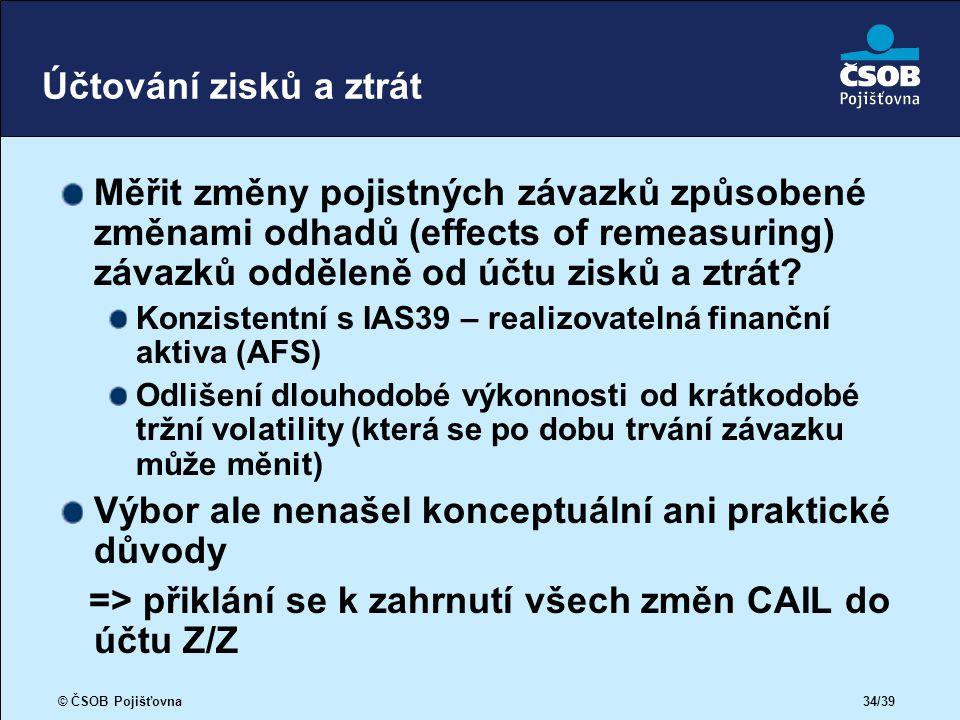 © ČSOB Pojišťovna 34/39 Účtování zisků a ztrát Měřit změny pojistných závazků způsobené změnami odhadů (effects of remeasuring) závazků odděleně od účtu zisků a ztrát.