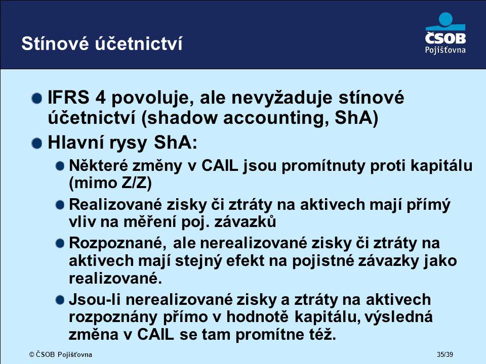 © ČSOB Pojišťovna 35/39 Stínové účetnictví IFRS 4 povoluje, ale nevyžaduje stínové účetnictví (shadow accounting, ShA) Hlavní rysy ShA: Některé změny v CAIL jsou promítnuty proti kapitálu (mimo Z/Z) Realizované zisky či ztráty na aktivech mají přímý vliv na měření poj.