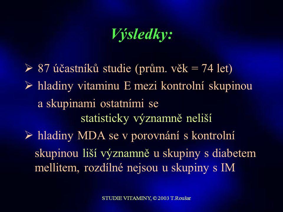 STUDIE VITAMINY, © 2003 T.Roušar Výsledky: Vitamin E ± SD [μmol/l] MDA ± SD [μmol/l] Kontrolní skupina 13,39 ± 4,23 0,71 ± 0,26 Infarkt myokardu 14,59