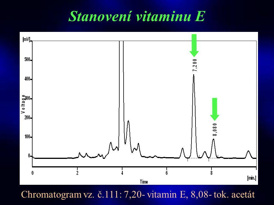 STUDIE VITAMINY, © 2003 T.Roušar Stanovení vitaminu E  HPLC analýza s UV detekcí - stac. fáze: MAC 4,6x250 mm, Biospher PSI 120, C 18, 5 μm (Labio a.