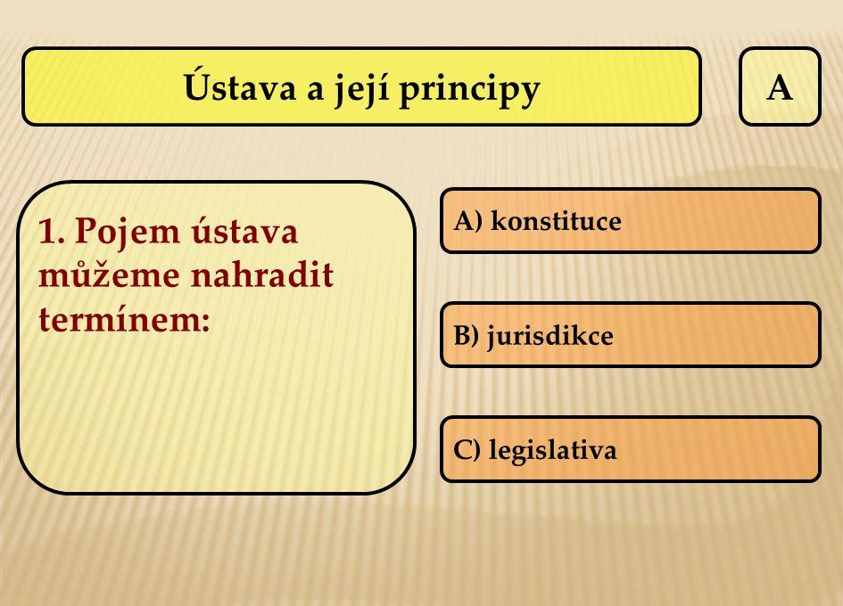 Ústava a její principyA 1. Pojem ústava můžeme nahradit termínem: A) konstituce B) jurisdikce C) legislativa