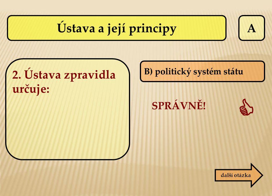 A B) politický systém státu SPRÁVNĚ!  další otázka Ústava a její principy 2. Ústava zpravidla určuje: