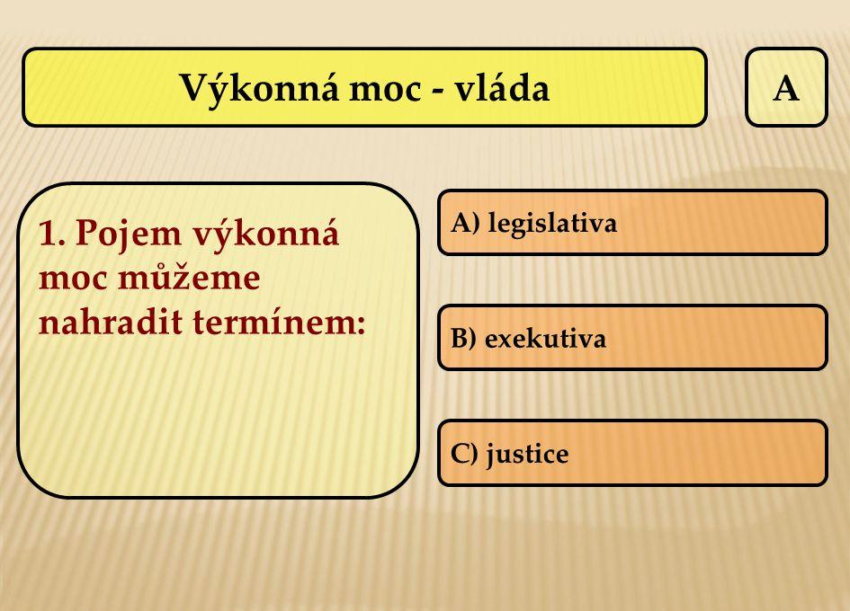 Výkonná moc - vláda A A) legislativa B) exekutiva C) justice 1. Pojem výkonná moc můžeme nahradit termínem: