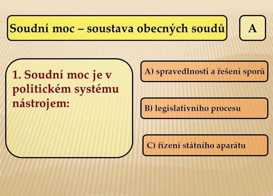 Soudní moc – soustava obecných soudůA A) spravedlnosti a řešení sporů B) legislativního procesu C) řízení státního aparátu 1. Soudní moc je v politick