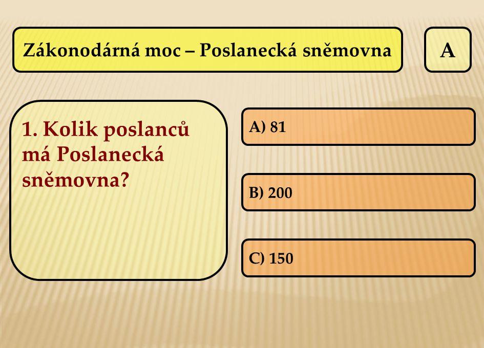 Zákonodárná moc – Poslanecká sněmovna A A) 81 B) 200 C) 150 1. Kolik poslanců má Poslanecká sněmovna?