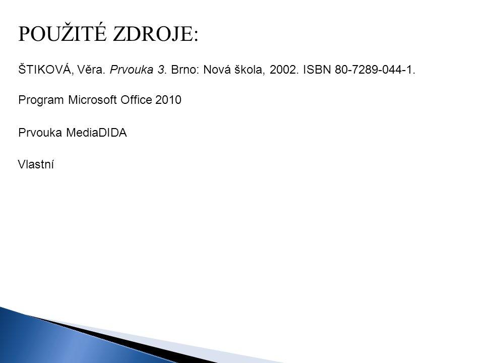 Program Microsoft Office 2010 ŠTIKOVÁ, Věra. Prvouka 3. Brno: Nová škola, 2002. ISBN 80-7289-044-1. POUŽITÉ ZDROJE: Prvouka MediaDIDA Vlastní