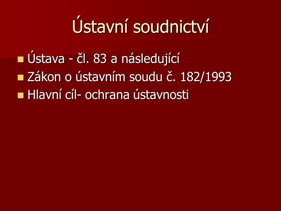 Ústava - čl.83 a následující Ústava - čl. 83 a následující Zákon o ústavním soudu č.