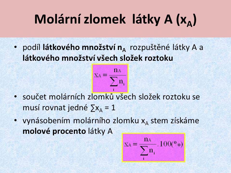 Molární zlomek látky A (x A ) podíl látkového množství n A rozpuštěné látky A a látkového množství všech složek roztoku součet molárních zlomků všech složek roztoku se musí rovnat jedné ∑x A = 1 vynásobením molárního zlomku x A stem získáme molové procento látky A