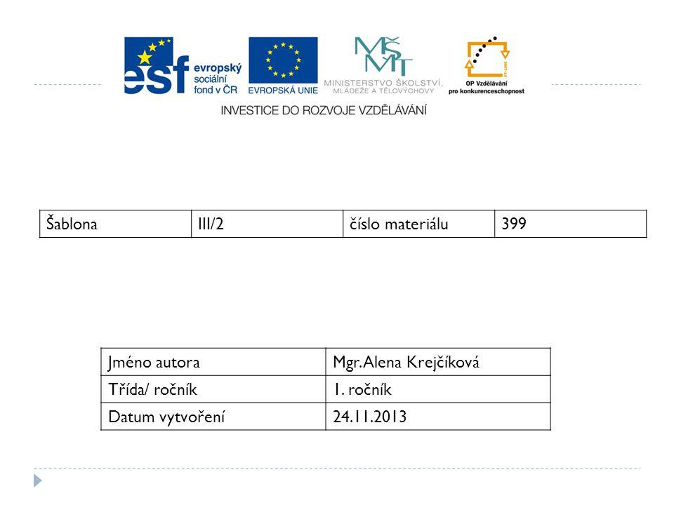 ŠablonaIII/2číslo materiálu399 Jméno autoraMgr. Alena Krejčíková Třída/ ročník1. ročník Datum vytvoření24.11.2013
