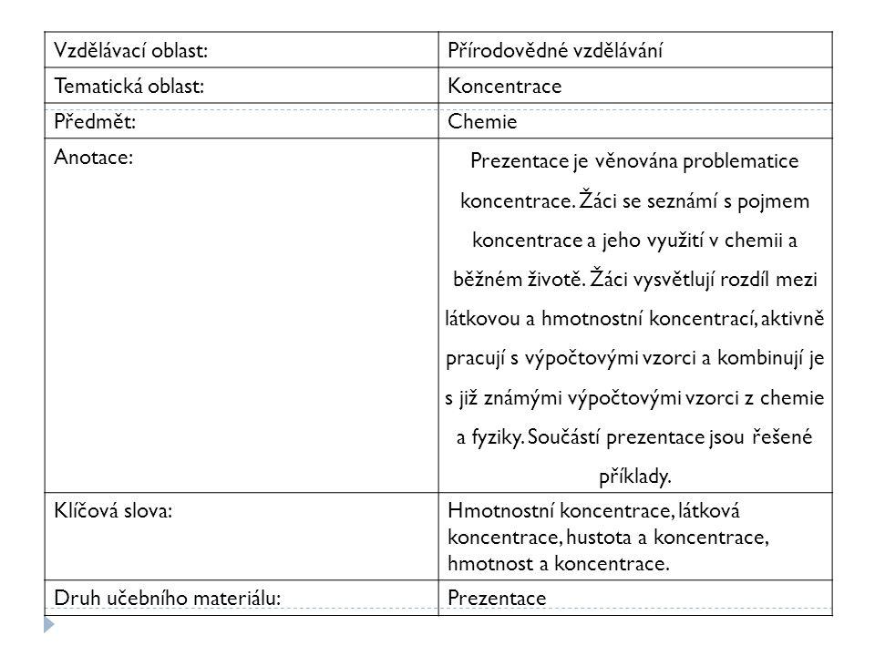 Vzdělávací oblast:Přírodovědné vzdělávání Tematická oblast:Koncentrace Předmět:Chemie Anotace: Prezentace je věnována problematice koncentrace. Žáci s