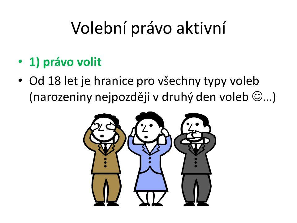 Volební právo aktivní 1) právo volit Od 18 let je hranice pro všechny typy voleb (narozeniny nejpozději v druhý den voleb …)
