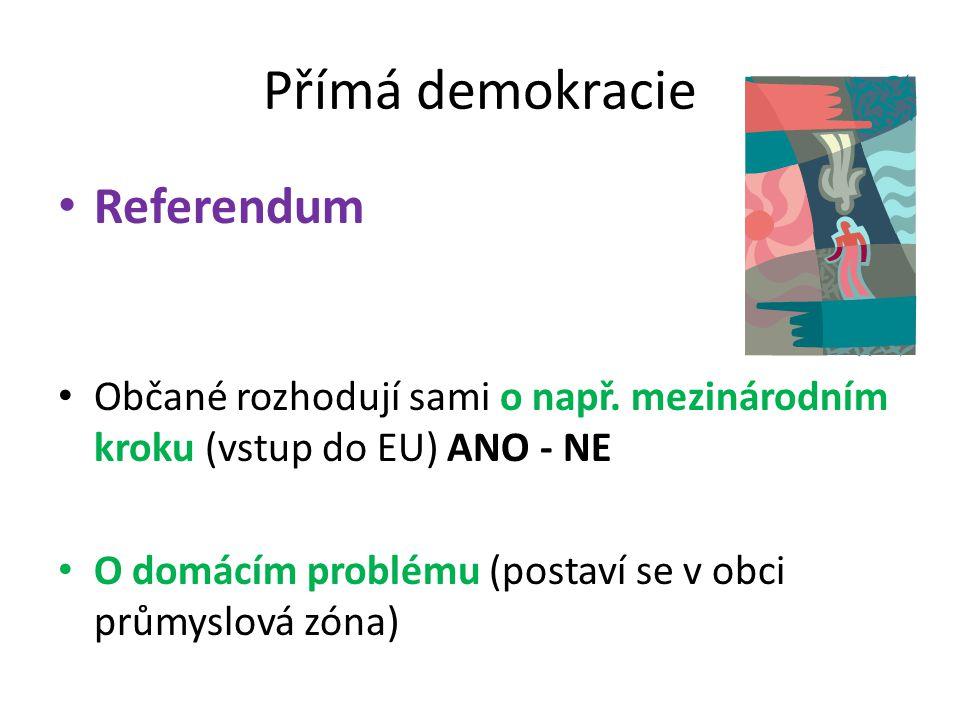 Přímá demokracie Referendum Občané rozhodují sami o např. mezinárodním kroku (vstup do EU) ANO - NE O domácím problému (postaví se v obci průmyslová z