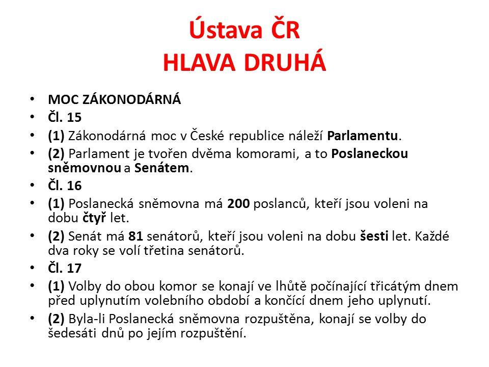 Ústava ČR HLAVA DRUHÁ MOC ZÁKONODÁRNÁ Čl. 15 (1) Zákonodárná moc v České republice náleží Parlamentu. (2) Parlament je tvořen dvěma komorami, a to Pos