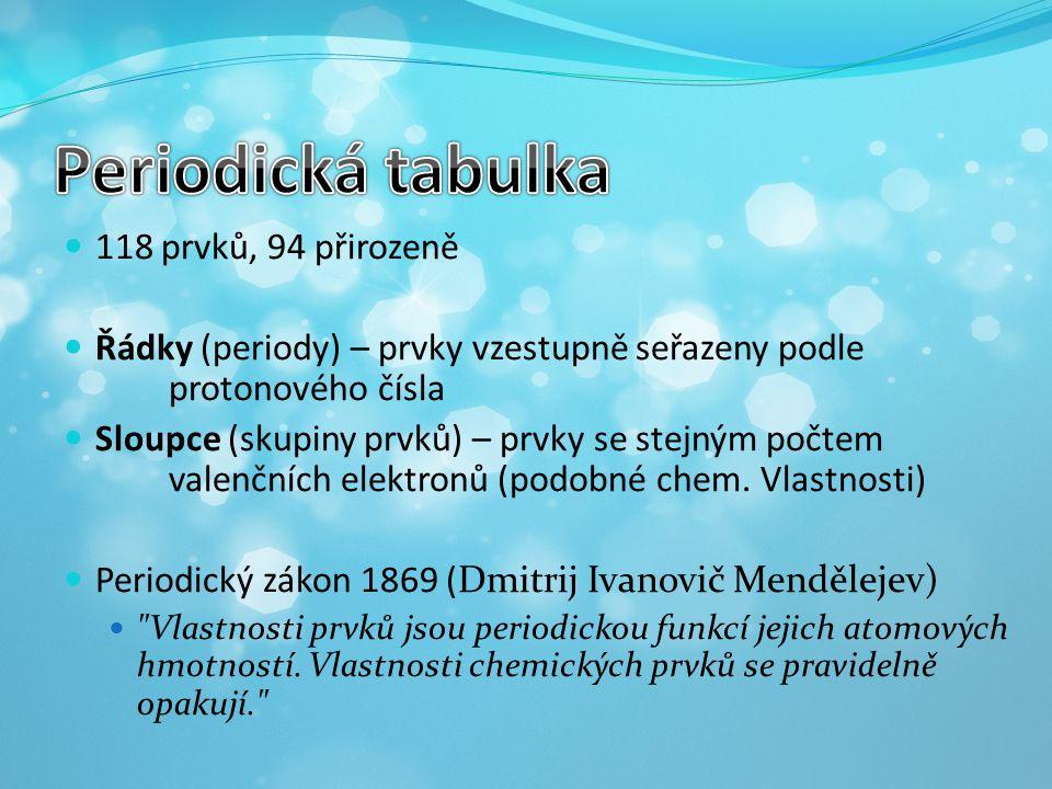 118 prvků, 94 přirozeně Řádky (periody) – prvky vzestupně seřazeny podle protonového čísla Sloupce (skupiny prvků) – prvky se stejným počtem valenčníc