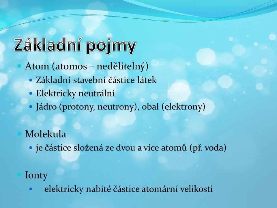 Atom (atomos – nedělitelný) Základní stavební částice látek Elektricky neutrální Jádro (protony, neutrony), obal (elektrony) Molekula je částice slože