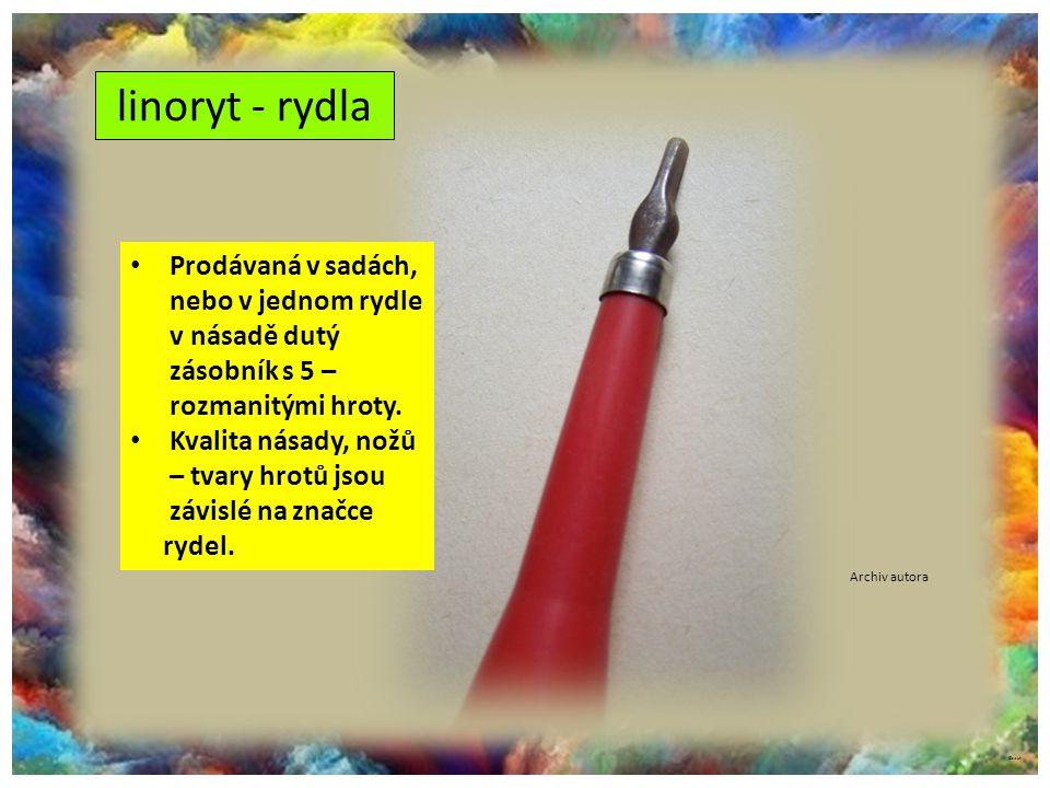 ©c.zuk linoryt - rydla Archiv autora Prodávaná v sadách, nebo v jednom rydle v násadě dutý zásobník s 5 – rozmanitými hroty. Kvalita násady, nožů – tv