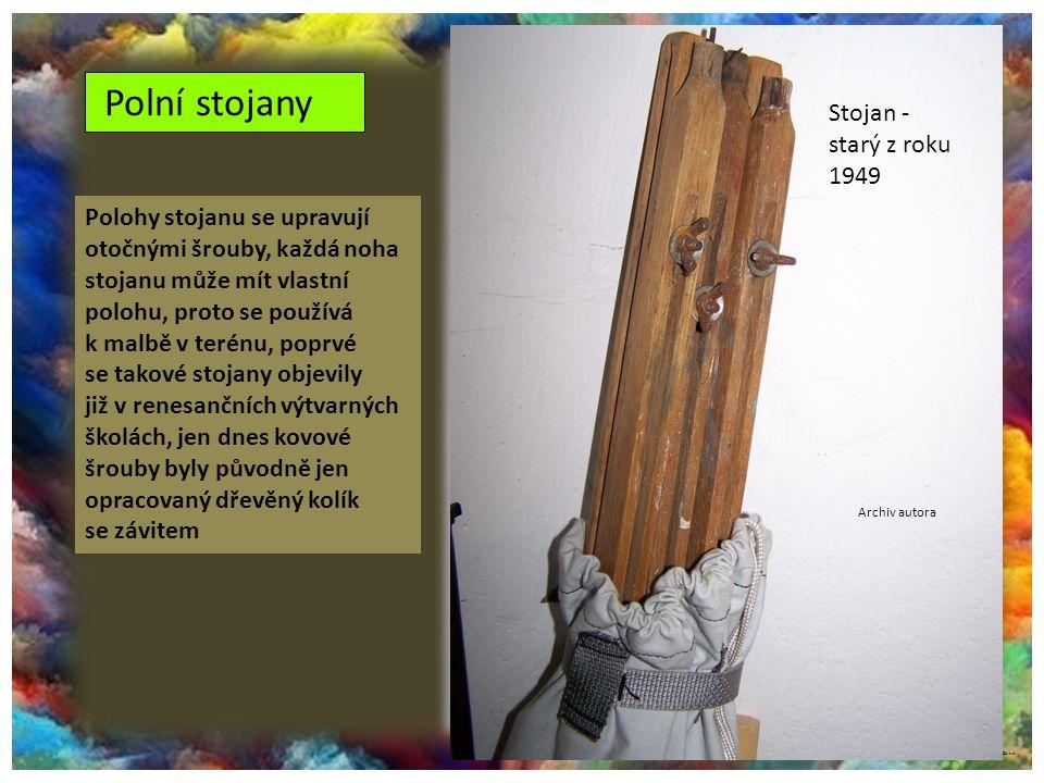 ©c.zuk Polní stojany Archiv autora Polohy stojanu se upravují otočnými šrouby, každá noha stojanu může mít vlastní polohu, proto se používá k malbě v