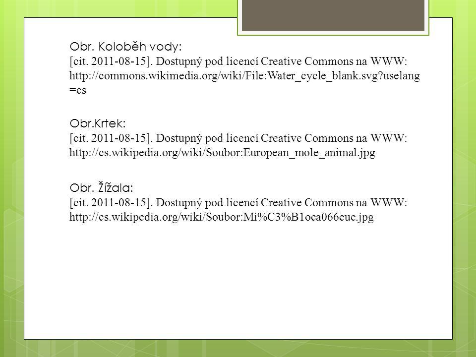 Obr.Krtek: [cit. 2011-08-15]. Dostupný pod licencí Creative Commons na WWW: http://cs.wikipedia.org/wiki/Soubor:European_mole_animal.jpg Obr. Žížala:
