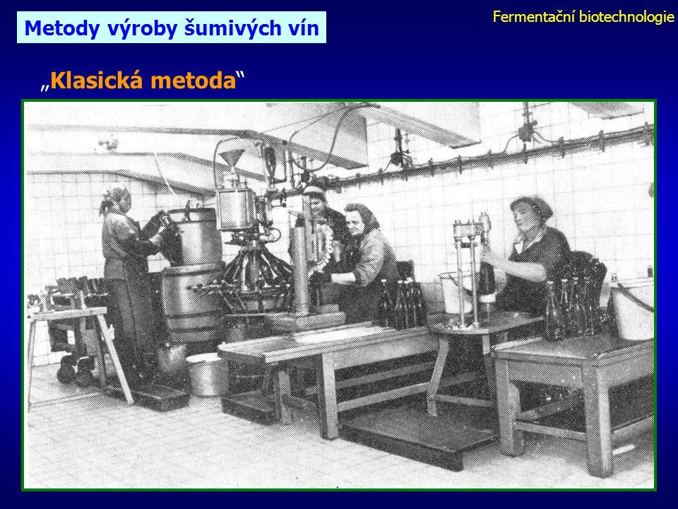 """Fermentační biotechnologie Metody výroby šumivých vín """"Klasická metoda"""""""