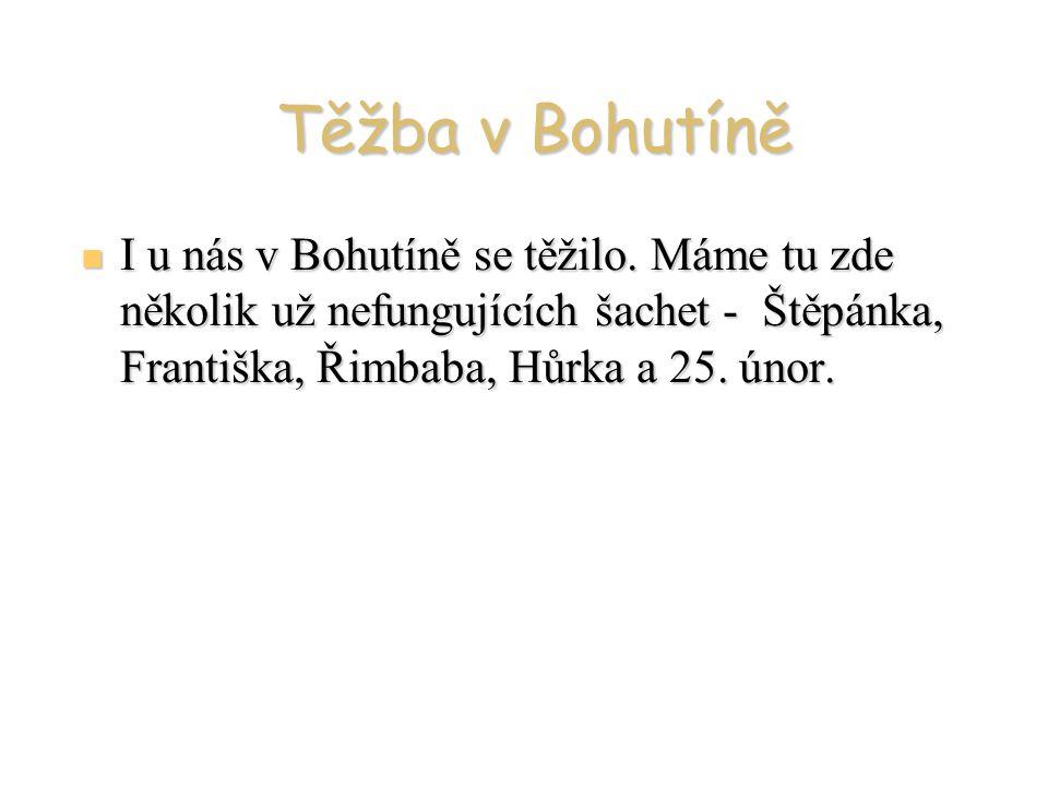 Těžba v Bohutíně I u nás v Bohutíně se těžilo. Máme tu zde několik už nefungujících šachet - Štěpánka, Františka, Řimbaba, Hůrka a 25. únor. I u nás v