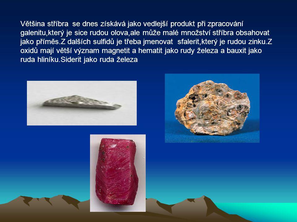 Většina stříbra se dnes získává jako vedlejší produkt při zpracování galenitu,který je sice rudou olova,ale může malé množství stříbra obsahovat jako