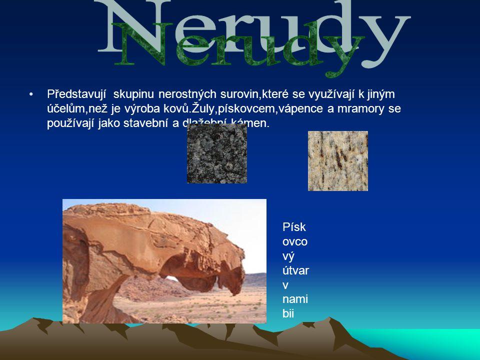 Představují skupinu nerostných surovin,které se využívají k jiným účelům,než je výroba kovů.Žuly,pískovcem,vápence a mramory se používají jako stavební a dlažební kámen.