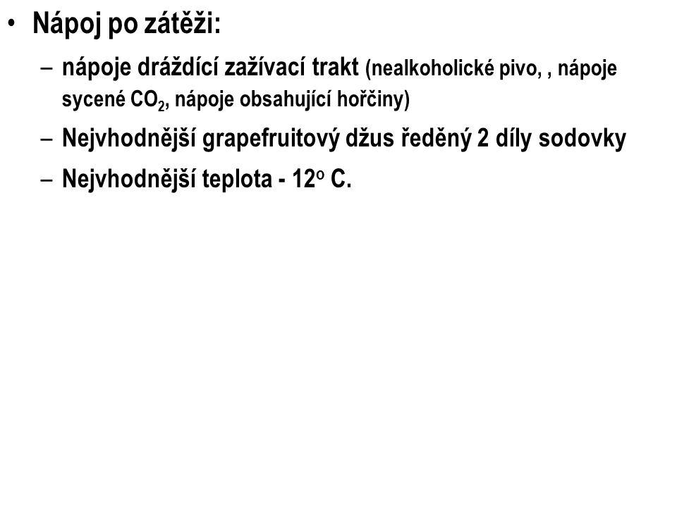 Nápoj po zátěži: – nápoje dráždící zažívací trakt (nealkoholické pivo,, nápoje sycené CO 2, nápoje obsahující hořčiny) – Nejvhodnější grapefruitový džus ředěný 2 díly sodovky – Nejvhodnější teplota - 12 o C.