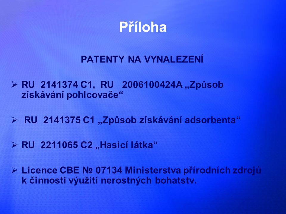 """Příloha PATENTY NA VYNALEZENÍ  RU 2141374 С1, RU 2006100424А """"Způsob získávání pohlcovače  RU 2141375 С1 """"Způsob získávání adsorbenta  RU 2211065 С2 """"Hasicí látka  Licence CBE № 07134 Ministerstva přírodních zdrojů k činnosti výužití nerostných bohatstv."""
