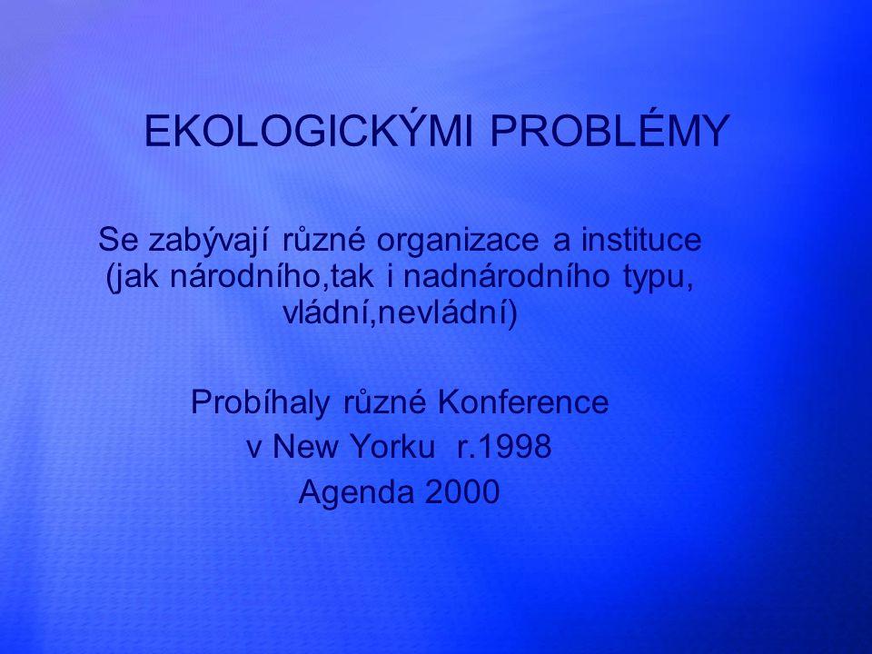 EKOLOGICKÝMI PROBLÉMY Se zabývají různé organizace a instituce (jak národního,tak i nadnárodního typu, vládní,nevládní) Probíhaly různé Konference v New Yorku r.1998 Agenda 2000