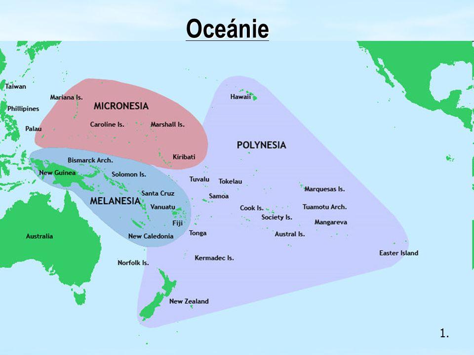 3.4.Oceánie Přírodní podmínky Podnebí se liší podle vzdálenosti od rovníku a směru větrů.