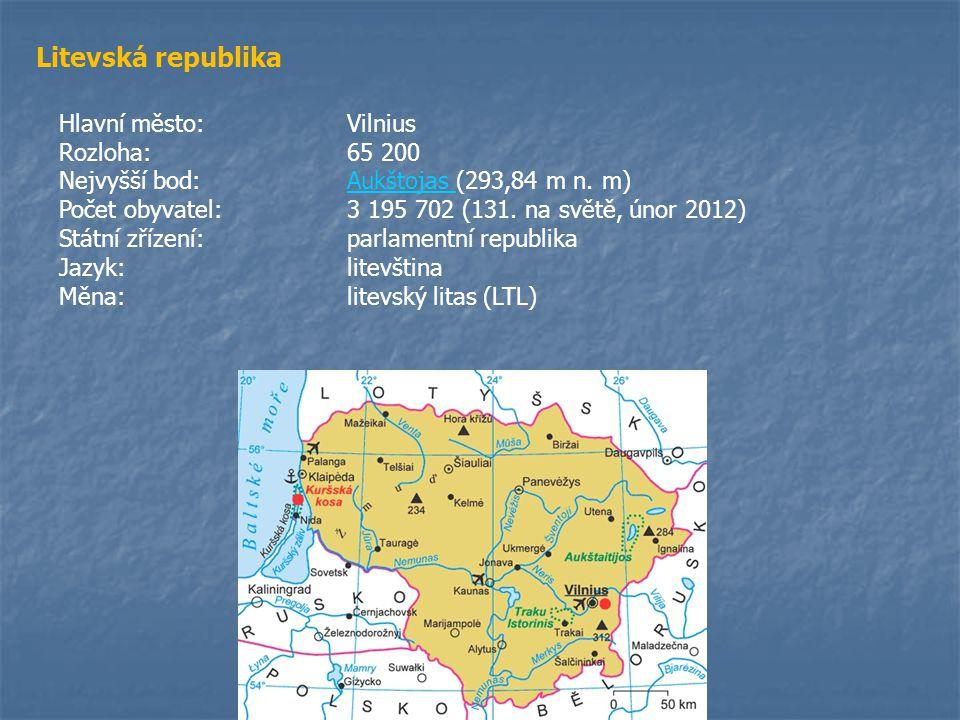 Litevská republika Hlavní město:Vilnius Rozloha:65 200 Nejvyšší bod:Aukštojas (293,84 m n. m)Aukštojas Počet obyvatel:3 195 702 (131. na světě, únor 2