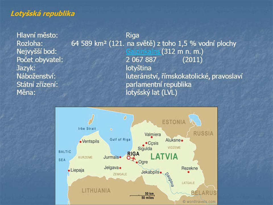 Lotyšská republika Hlavní město:Riga Rozloha:64 589 km² (121. na světě) z toho 1,5 % vodní plochy Nejvyšší bod:Gaizinkalns (312 m n. m.)Gaizinkalns Po