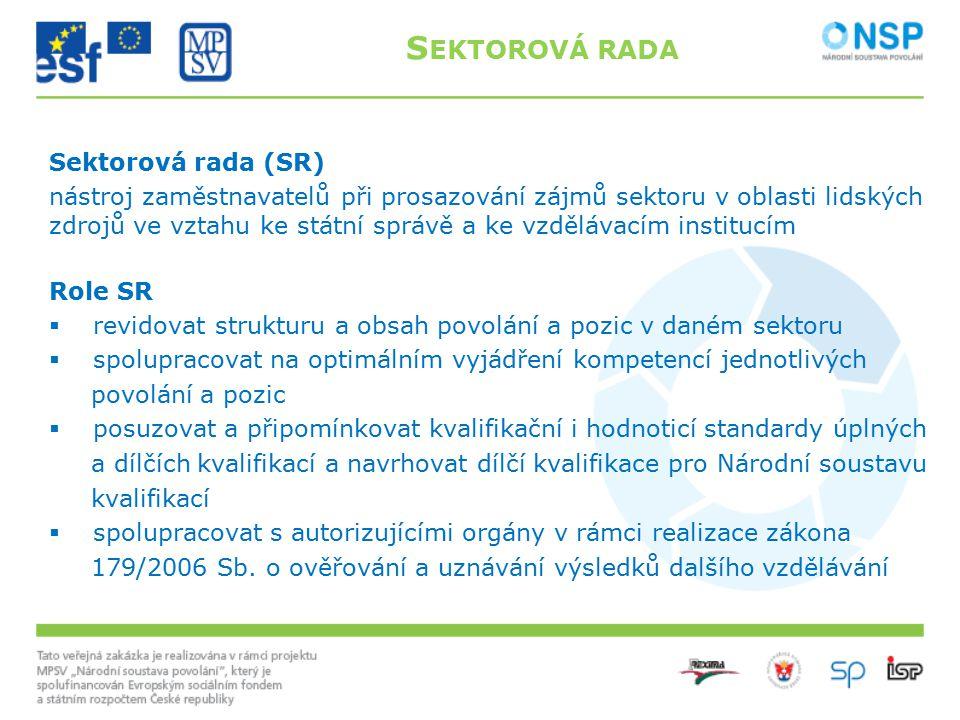 Sektorová rada (SR) nástroj zaměstnavatelů při prosazování zájmů sektoru v oblasti lidských zdrojů ve vztahu ke státní správě a ke vzdělávacím institu
