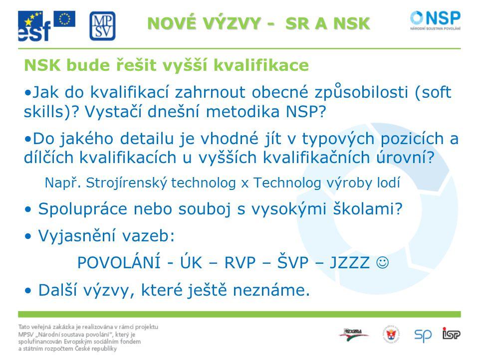 NSK bude řešit vyšší kvalifikace Jak do kvalifikací zahrnout obecné způsobilosti (soft skills)? Vystačí dnešní metodika NSP? Do jakého detailu je vhod