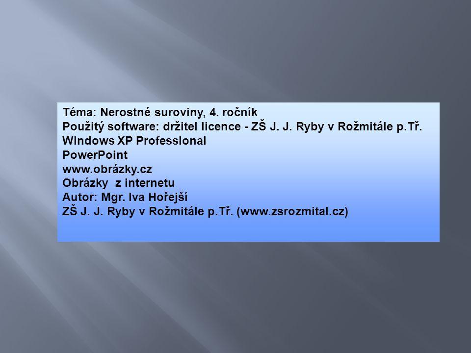 Téma: Nerostné suroviny, 4. ročník Použitý software: držitel licence - ZŠ J. J. Ryby v Rožmitále p.Tř. Windows XP Professional PowerPoint www.obrázky.