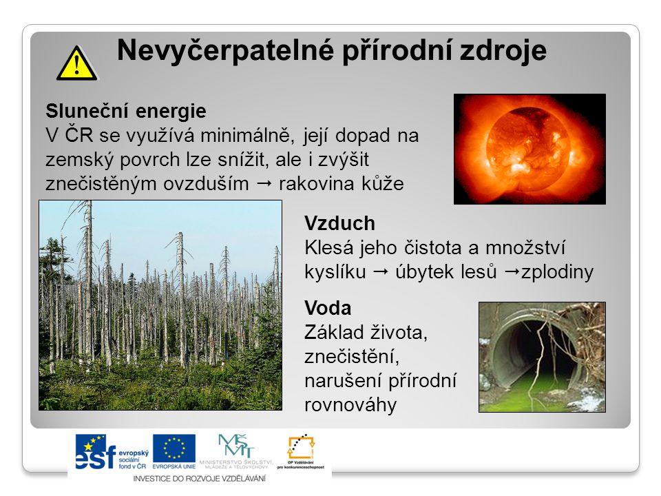 Sluneční energie V ČR se využívá minimálně, její dopad na zemský povrch lze snížit, ale i zvýšit znečistěným ovzduším  rakovina kůže Nevyčerpatelné přírodní zdroje Vzduch Klesá jeho čistota a množství kyslíku  úbytek lesů  zplodiny Voda Základ života, znečistění, narušení přírodní rovnováhy