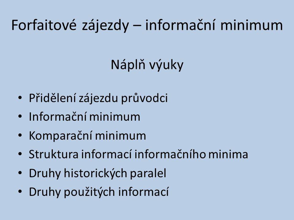 Náplň výuky Přidělení zájezdu průvodci Informační minimum Komparační minimum Struktura informací informačního minima Druhy historických paralel Druhy použitých informací Forfaitové zájezdy – informační minimum
